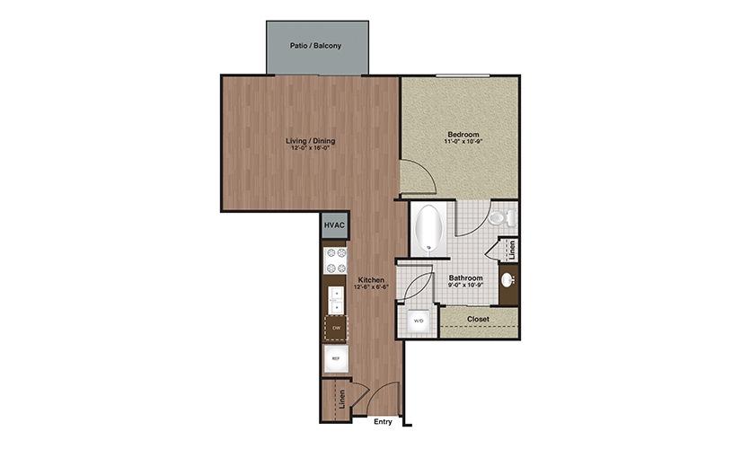 E2-A2 1 Bed 1 Bath Floorplan