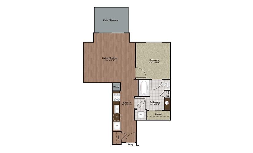E2-A2a 1 Bed 1 Bath Floorplan