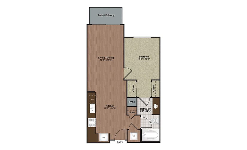 E2-A3 1 Bed 1 Bath Floorplan
