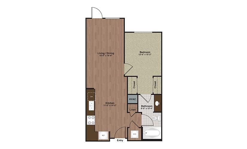 E2-A3b 1 Bed 1 Bath Floorplan