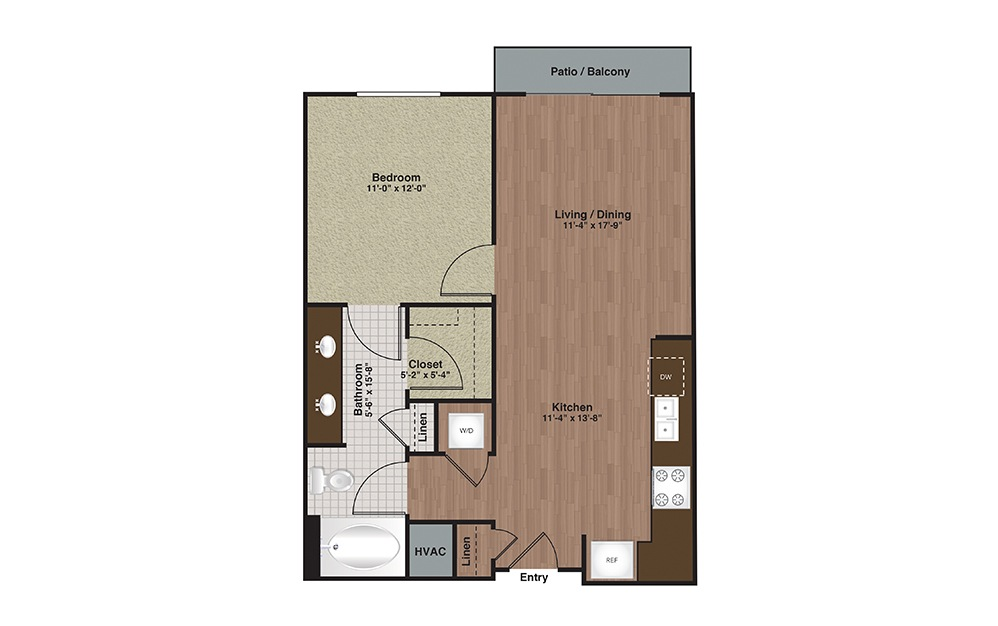 E2-A4 1 Bed 1 Bath Floorplan
