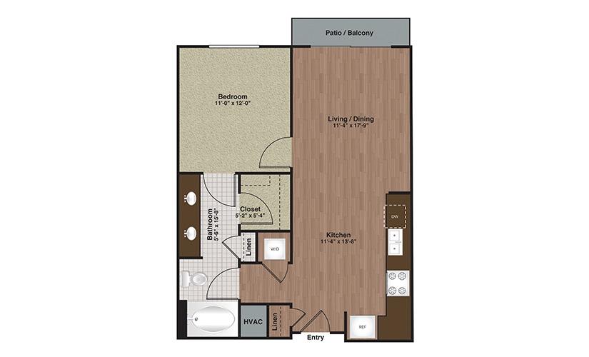 E2-A4 1 Bed 1 Bath Floorplan