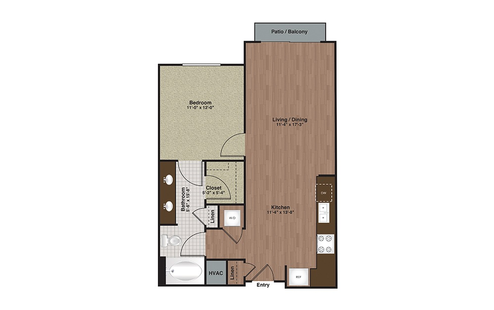 E2-A4a 1 Bed 1 Bath Floorplan