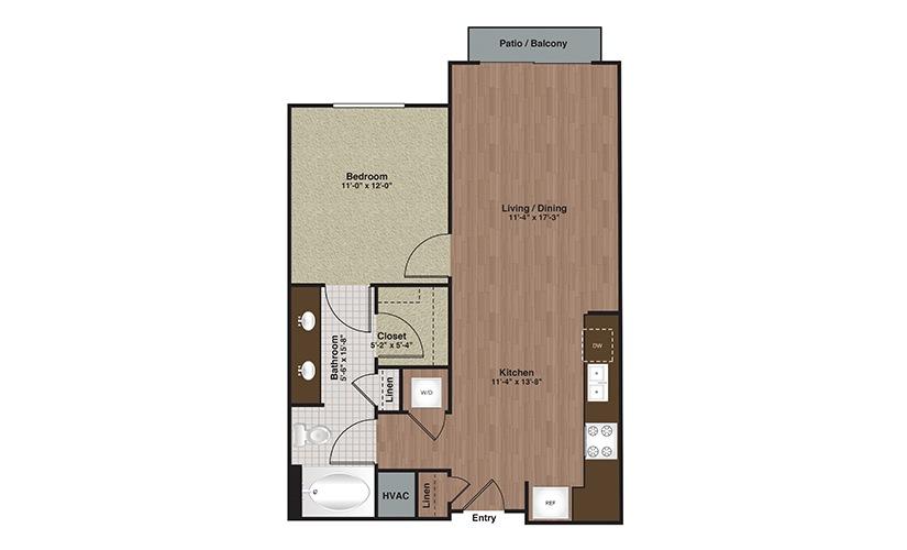 E2-A4a 1 Bed 1 Bath Floorplan