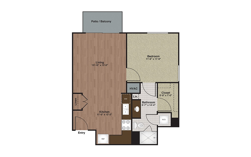 E2-A5 1 Bed 1 Bath Floorplan