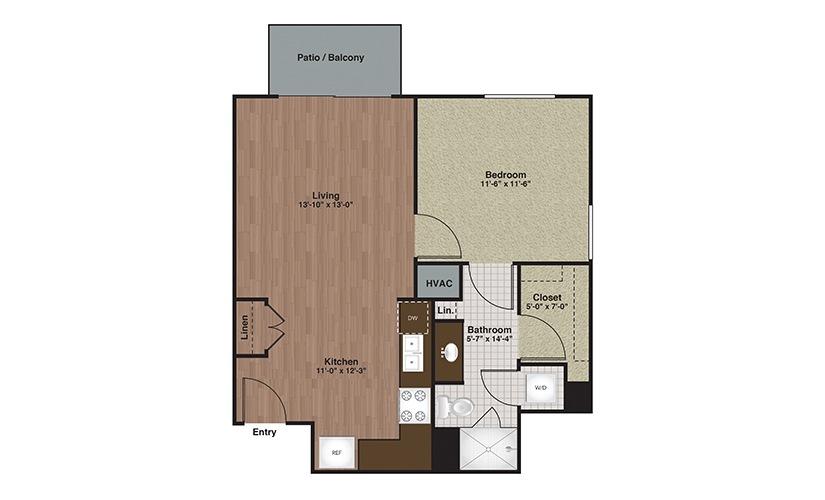 E2-A5 1 Bed 1 Bath Floorplan
