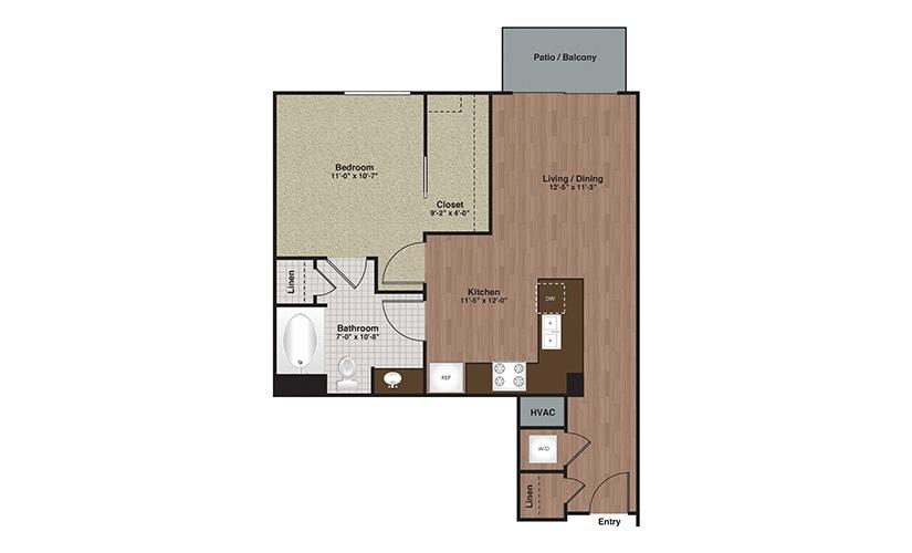 E2-A6 1 Bed 1 Bath Floorplan