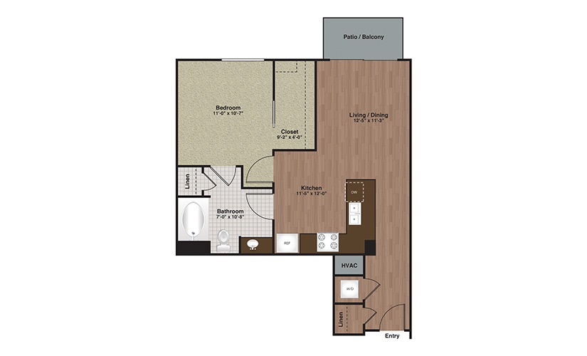 E2-A6 1 Bed 1 Bath Floorplan