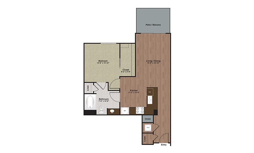 E2-A6a 1 Bed 1 Bath Floorplan