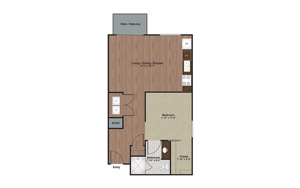 E2-A7 1 Bed 1 Bath Floorplan