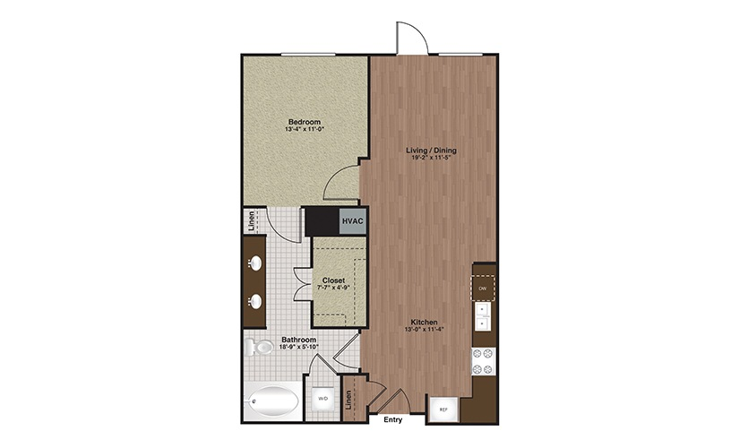 E2-A8 1 Bed 1 Bath Floorplan