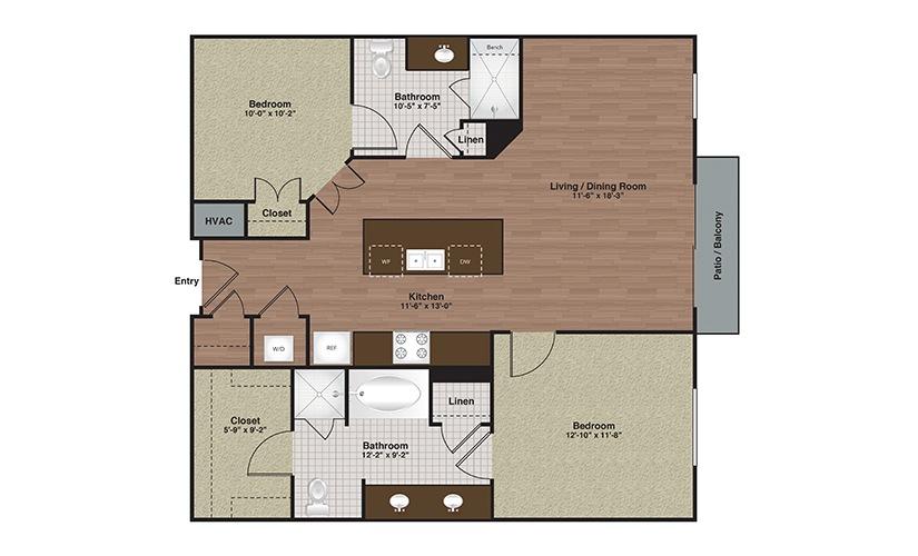 E2-B1 2 Bed 2 Bath Floorplan