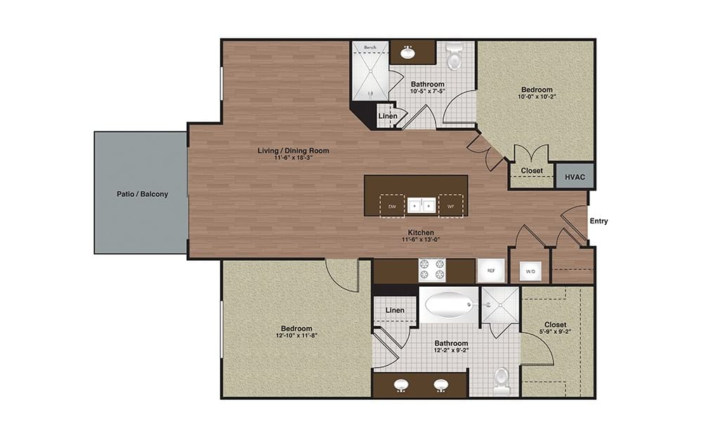 E2-B1a 2 Bed 2 Bath Floorplan