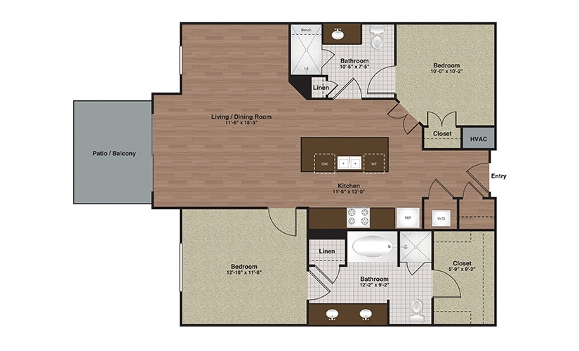E2-B1a 2 Bed 2 Bath Floorplan