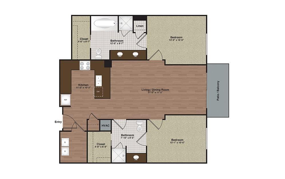 E2-B2 2 Bed 2 Bath Floorplan