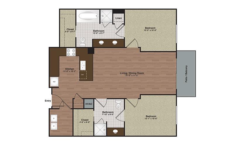 E2-B2 2 Bed 2 Bath Floorplan