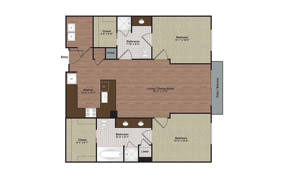 E2-B2a 2 Bed 2 Bath Floorplan