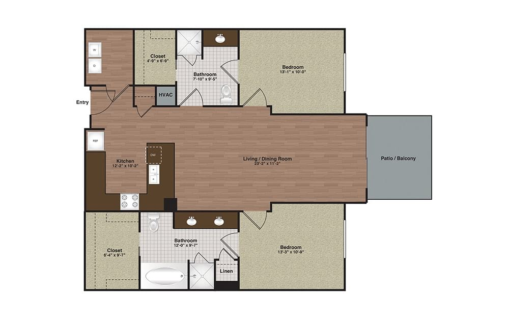 E2-B2b 2 Bed 2 Bath Floorplan