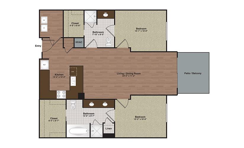 E2-B2b 2 Bed 2 Bath Floorplan