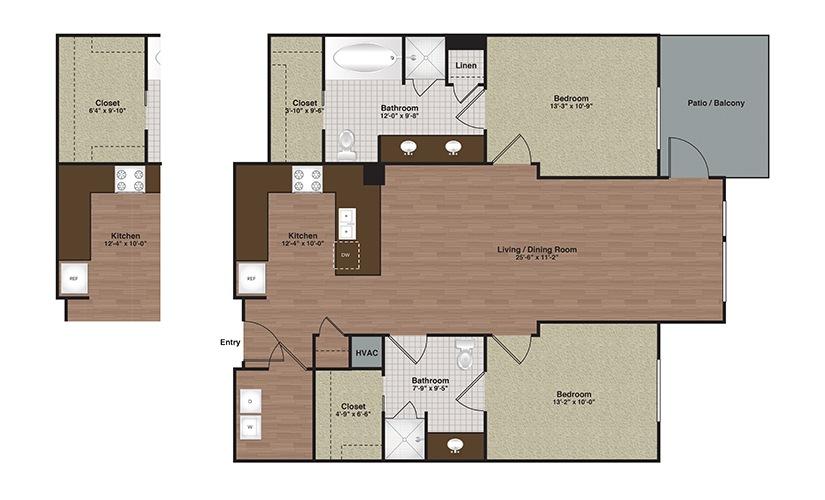 E2-B2c 2 Bed 2 Bath Floorplan