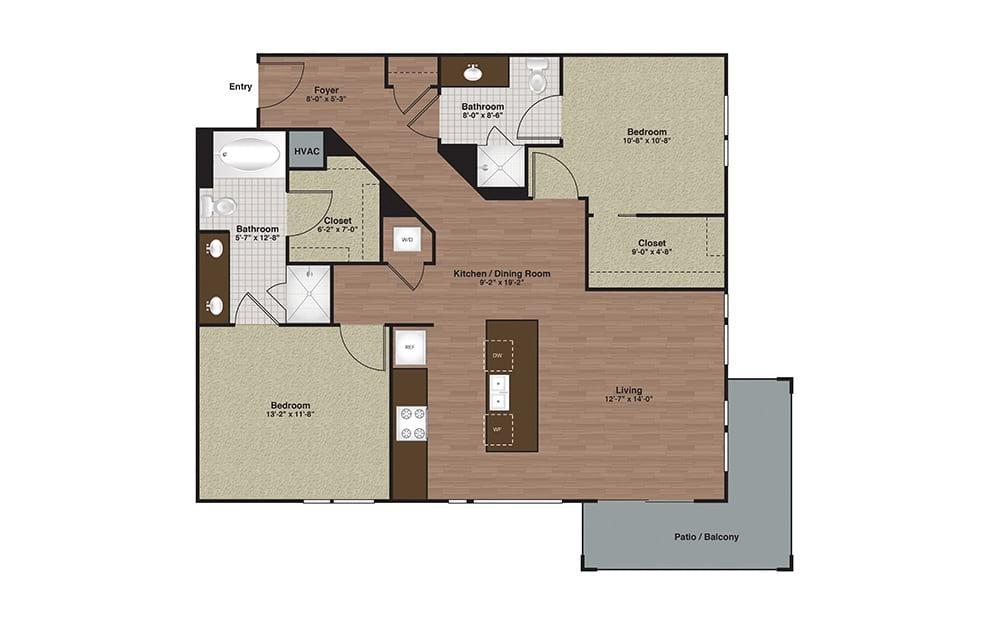 E2-B3 2 Bed 2 Bath Floorplan