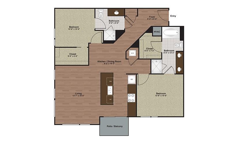 E2-B3a 2 Bed 2 Bath Floorplan