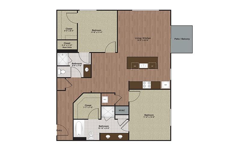 E2-B4 2 Bed 2 Bath Floorplan