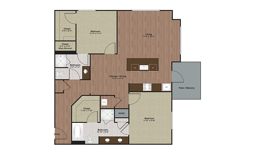 E2-B4a 2 Bed 2 Bath Floorplan