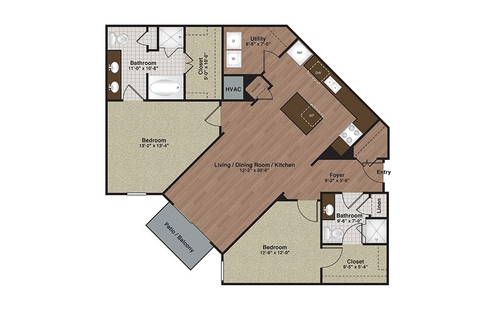 E2-B5 2 Bed 2 Bath Floorplan