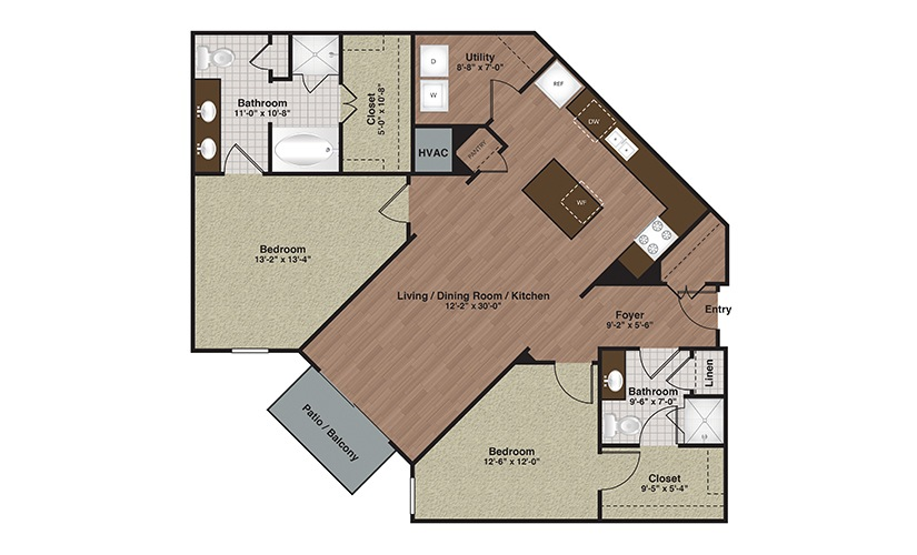 E2-B5 2 Bed 2 Bath Floorplan