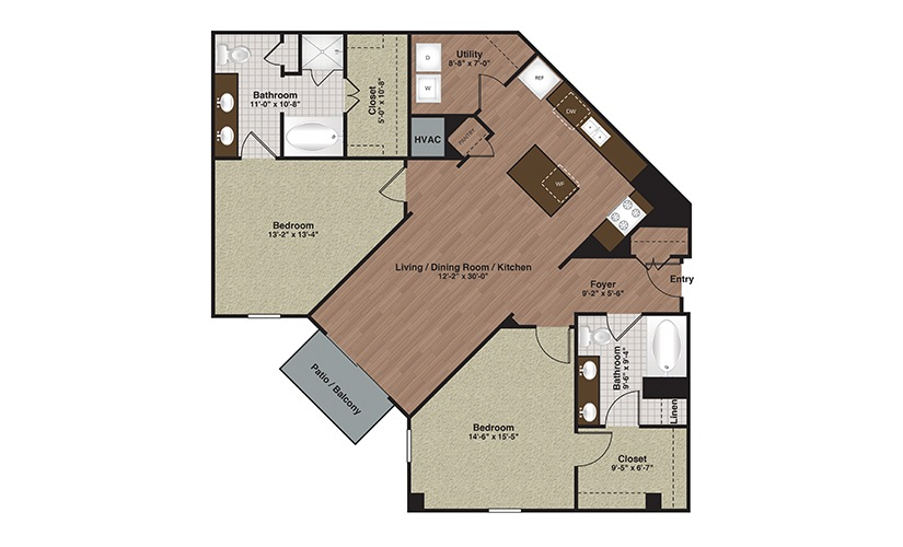 E2-B5a 2 Bed 2 Bath Floorplan
