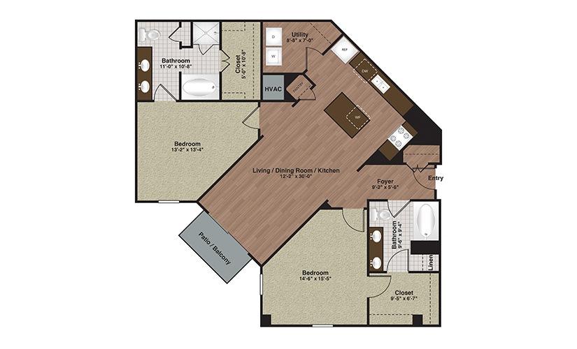 E2-B5a 2 Bed 2 Bath Floorplan