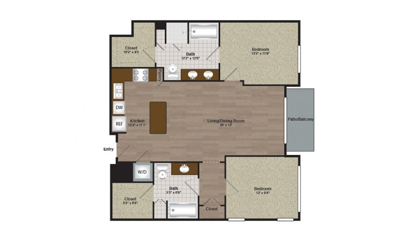 Center-E2-B2d - 2 bedroom floorplan layout with 2 baths and 1211 square feet.