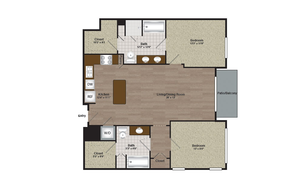 Center-E2-B2d - 2 bedroom floorplan layout with 2 baths and 1211 square feet. (Preview)