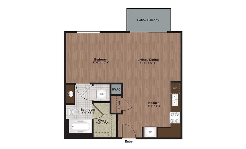 E2-S1 Studio 1 Bath Floorplan