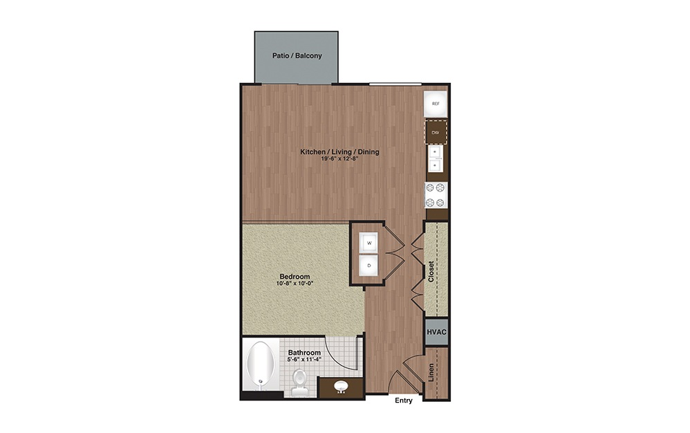 E2-S2 Studio 1 Bath Floorplan