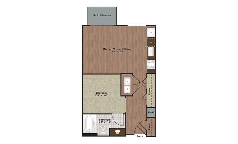 E2-S2 Studio 1 Bath Floorplan