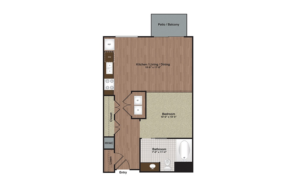 E2-S2a Studio 1 Bath Floorplan