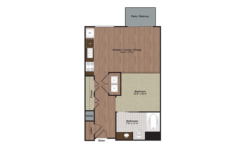 E2-S2a Studio 1 Bath Floorplan