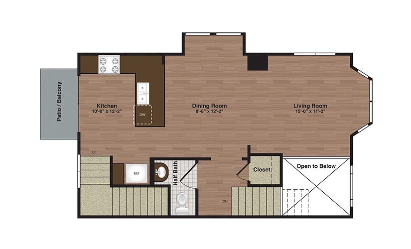 TH-A 3 Bed 2.5 Bath Floorplan