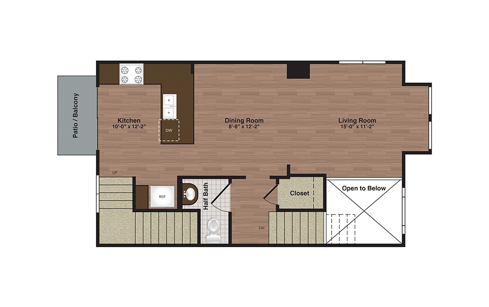TH-B 3 Bed 2.5 Bath Floorplan