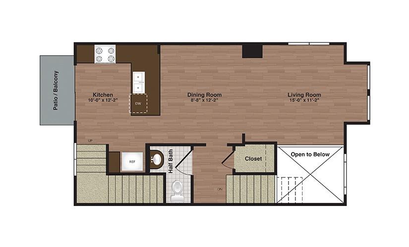 TH-B 3 Bed 2.5 Bath Floorplan