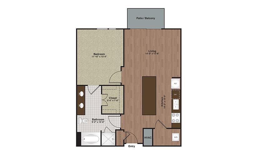 E2-A10 1 Bed 1 Bath Floorplan