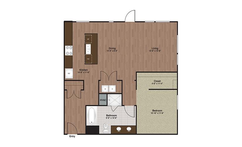 E3-A10 1 Bed 1 Bath Floorplan