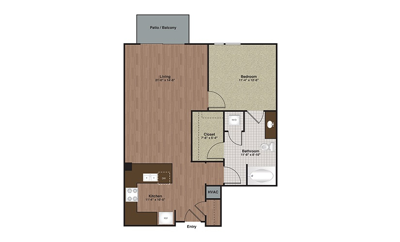 E2-A11 1 Bed 1 Bath Floorplan