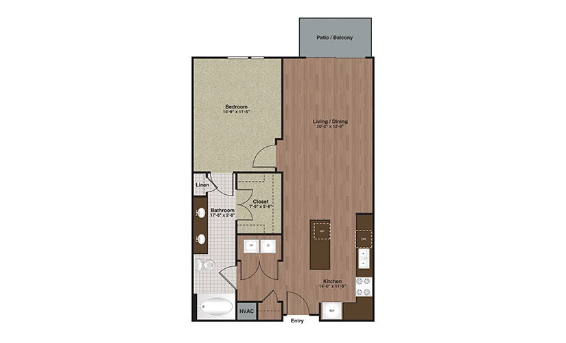 E2-A12 1 Bed 1 Bath Floorplan