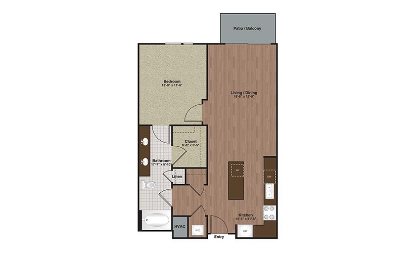 E2-A12a 1 Bed 1 Bath Floorplan