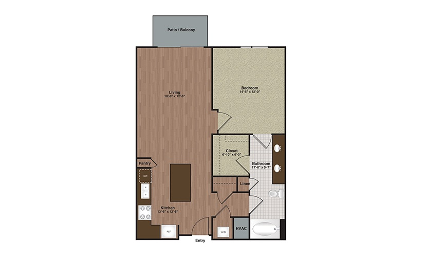 E2-A13 1 Bed 1 Bath Floorplan