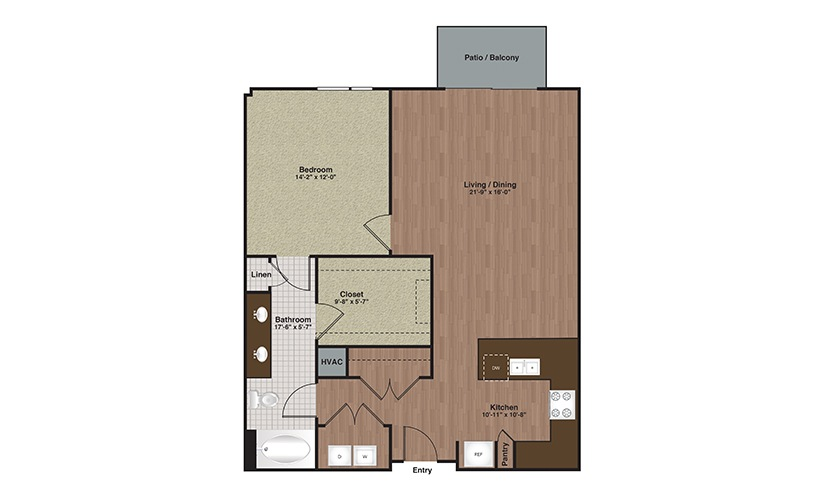 E2-A13a 1 Bed 1 Bath Floorplan