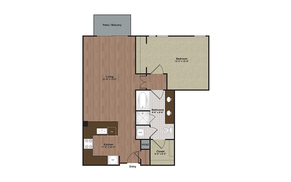 E2-A14 1 Bed 1 Bath Floorplan